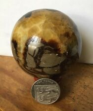 UK NEW NATURAL SEPTARIAN DRAGON QUARTZ CRYSTAL BALL SPHERE STAND.