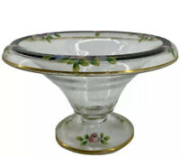 Hand Painted Mayonnaise Glass Footed Compote Candy Pink Black Gold Flowers
