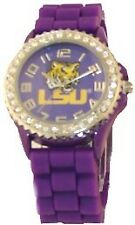 Fashion Jewelry Purple Silicon Band Watch LSU TIGERS Crystal Bezel Bayou Bengals