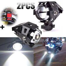 2 x 125W U5 Motorcycle Cree LED Headlight Driving Fog Lights Spot Lamps + Switch