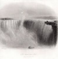 Niagara Falls - HORSE SHOE Antique Print 1840 FREEPOST