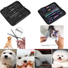 """7"""" Professional Pet Dog Cat Grooming Scissors Cutting Curved Thinning Shears Set"""