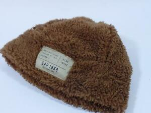 New Baby Gap Boys Ginger Brown Sherpa Fleece Beanie Hat, Sz S/M 2-3 Yrs