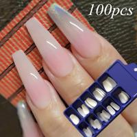 100x Professional Natural White French Acrylic False Fake Nails Long Nail Tips