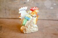 Vintage Muti-Color Farm Rooster/Chicken Ceramic Napkin/Letter Holder