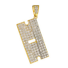 .925 Sterling Silver 14k Gold Finish Iced Out CZ Razor Blade Men's Pendant