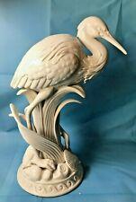 Scarce Fitz & Floyd Atlantis Tall Heron Crane Figurine Shells - 12.5 inches tall