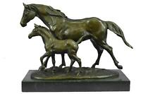 "Mother Horse Mare & Foal Bronze Sculpture Equestrian Gift 10"" x 13.5"""