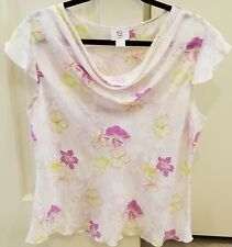 APT 9 COWL NECK TOP ~ SHORT SLEEVES ~ ORCHID (PURPLE)/WHITE ~ LARGE NEW w/o TAGS