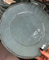 Pottery Barn Set 4 Rope Dinner Plates Turquoise Blue