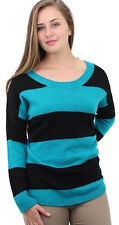 AGB Ladies Size Large Button Back Striped Sweater Top Patrick Green/Ebony Black