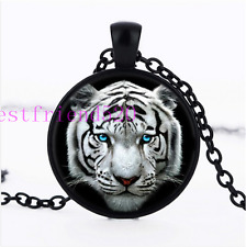White Tiger Head Photo Cabochon Glass Black Chain Pendant Necklace#E5E