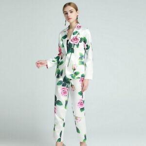 wholesale runway Lapel neck Print Floral Button Pocket top+fashion Pants suit