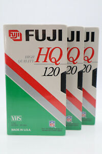 3 Pack Fuji HQ 120 Blank VHS VCR Videocassette Tapes New Sealed
