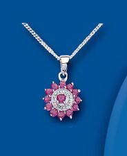 Diamond Round Ruby Fine Necklaces & Pendants