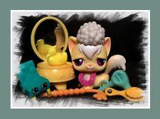 Littlest Pet Shop Yellow Long Hair Angora Cat #364 Purple Eyes w/ Accessories