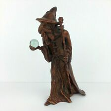 Vtg Bronze Wizard Figure Statue Holding Crystal Ball Mythical Fantasy Merlin 6""