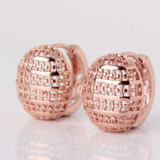Nice New 18k Rose Gold Filled Carved Cutout Oval Button Huggie Hoop Earrings