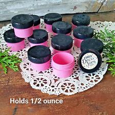 18 PINK Plastic Jars BLACK Caps tops screw lids cosmetic USA Container #3803