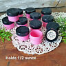 12 PINK Plastic Jars BLACK Caps tops screw lids cosmetic USA Container #3803
