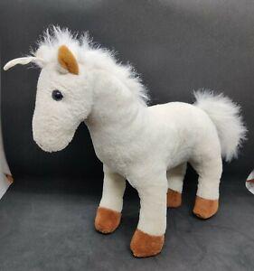 "Plush ivory white hair pony horse L10"" standing w/repairs not working"