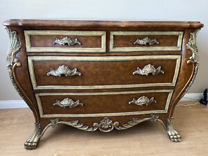 VINTAGE BOMBAY CLAW FOOT GOLD LEAF ORNATE CHEST 4 DRAWERS
