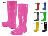 womens rubber rain boots black blue gray green red yellow Size  5 6 7 8 9 10 11