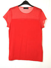 RED LADIES CASUAL TOP BLOUSE STRETCH SIZE 14 SAVIDA PARTIALLY MESH