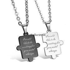 Puzzle Love Promise Stainless Steel Men's Women's Couples Pendant Necklace