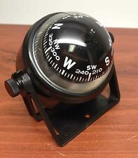 """MARINE BOAT SPORTS 2.25"""" D COMPASS WITH BLACK BRACKET VISIBLE LUBER LINE"""