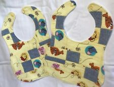 Set of 2 new homemade flannel patchwork baby bibs in WInnie the Pooh print