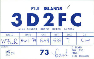 Vtg Ham Radio CB Amateur QSL QSO Card Postcard 3D2FC SUVA FIJI 1974