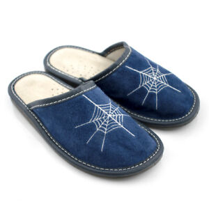 Kids Boys Real Leather/Suede Slippers Sandals Home Shoes Kapcie Spider's web