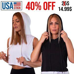 Women Crop Tank Top Sleevless Hoodie Sports Gym Fitness Yoga hooded Crop Top Tee