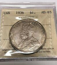 1936 $1 CANADA  SILVER DOLLAR ICCS#DL966  MS65 GEM!!