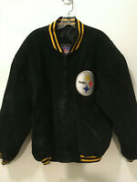 Pittsburgh Steelers Suede Leather Jacket, Zip Front Fully Lined, Size M Game Day