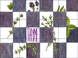 Herb Tile Backsplash Ceramic Mural Miller Thyme Kitchen Art POV-MM004
