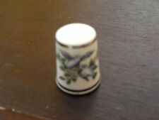 ROYAL WORCESTER THIMBLE  TWO BLUE / GREY BIRDS ON WHITE FLOWERS