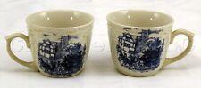 Vintage Decorative White Ceramic Stagecoach Scene Mug Tea Cups - Set of 2