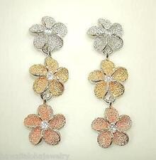 Silver Hawaiian Rhodium 3-T 14k Plumeria CZ Earrings #5
