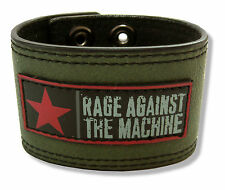 Rage Against The Machine Star Logo Green Faux Leather Wristband S/M New Official