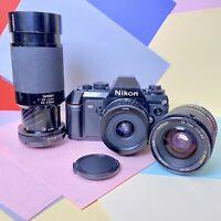 Nikon F-301 35mm SLR Camera W/ X3 Tamron Adaptall  Lens Kit! Film Tested! Lomo