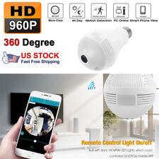 960P HD 1.3MP DVR 360° WiFi Camera Bulb Light Smart Security Wireless Fisheye #z