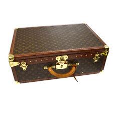 RARE AUTH LOUIS VUITTON ALZER 60 TRUNK HARD CASE TRAVEL HAND BAG MONOGRAM K07601