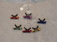 """"""" NASCAR''SET OF 6 HAND CRAFTED wine glass charms drink markers"""