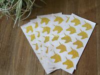 Set of 50 Unicorn Stickers Gold Unicorn Stickers Gold Glitter unicorn decal