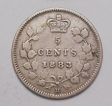 1883H Five Cents Silver VG-F Very SCARCE Date LOW Mintage Victoria KEY Canada 5¢