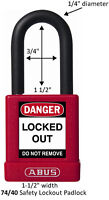 ABUS LOTO PADLOCKS Safety Lockout Padlock 40mm RED 7440REDKD-Free Postage