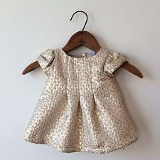 First Impressions Gold Silver Polka Dot Dress Sz 0-3 Months PERFECT
