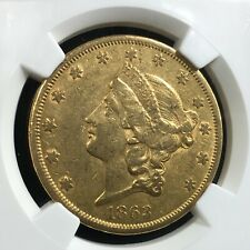 1863 S $20 Us Gold Liberty Double Eagle Coin Ngc Au 50 (019) Rare